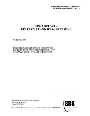 Primary view of object titled 'FINAL REPORT UFP RESTART AND SPARGER TESTING'.