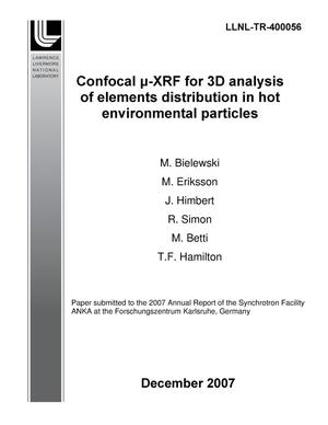 Primary view of object titled 'Confocal (micro)-XRF for 3D anlaysis of elements distribution in hot environmental particles'.