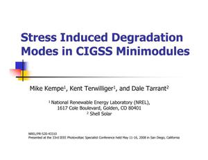 Primary view of object titled 'Stress Induced Degradation Modes in CIGSS Minimodules (Presentation)'.