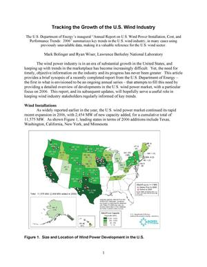 Primary view of object titled 'DOE Report Tracks Maturation of U.S. Wind Industry'.