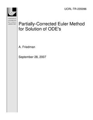 Primary view of object titled 'Partially-Corrected Euler Method for Solution of ODE's'.