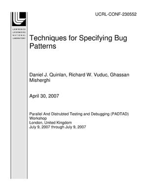 Primary view of object titled 'Techniques for Specifying Bug Patterns'.
