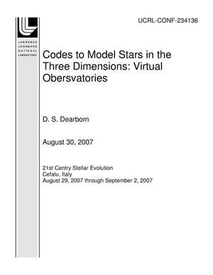 Primary view of object titled 'Codes to Model Stars in the Three Dimensions: Virtual Obersvatories'.