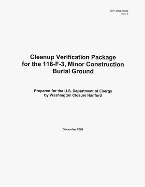 Primary view of object titled 'Cleanup Verification Package for the 118-F-3, Minor Construction Burial Ground'.