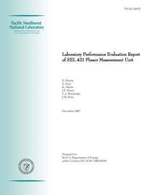 Primary view of object titled 'Laboratory Performance Evaluation Report of SEL 421 Phasor Measurement Unit'.