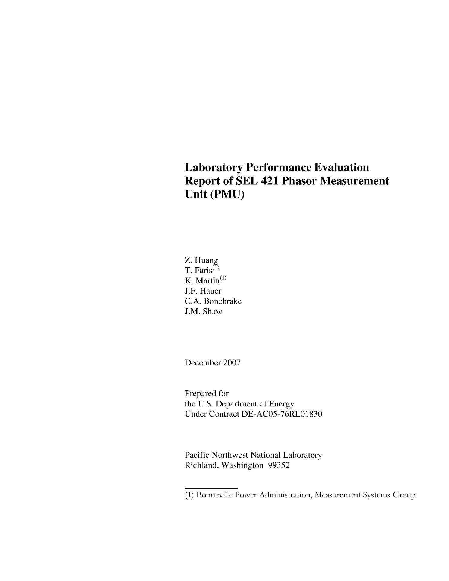 Laboratory Performance Evaluation Report of SEL 421 Phasor Measurement Unit                                                                                                      [Sequence #]: 3 of 59