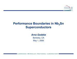 Primary view of object titled 'Performance Boundaries in Nb3Sn Superconductors'.