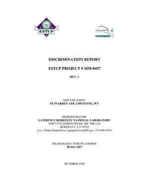 Primary view of object titled 'Discrimination Report ESTCP Project #MM-0437'.