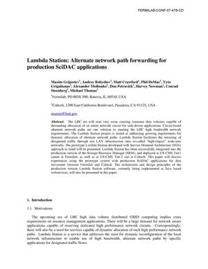 Primary view of object titled 'Lambda Station: Alternate network path forwarding for production SciDAC applications'.