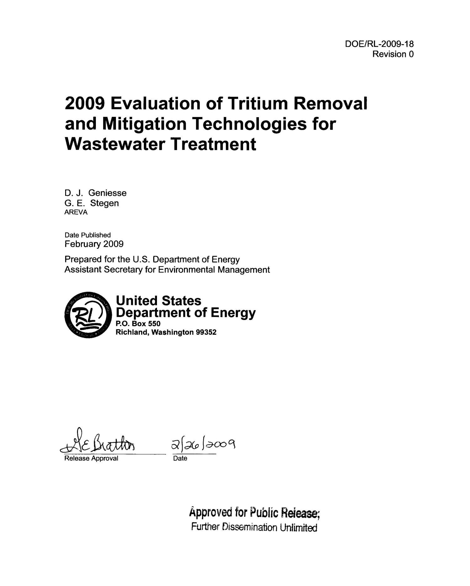 2009 EVALUATION OF TRITIUM REMOVAL AND MITIGATION TECHNOLOGIES FOR WASTEWATER TREATMENT                                                                                                      [Sequence #]: 2 of 51