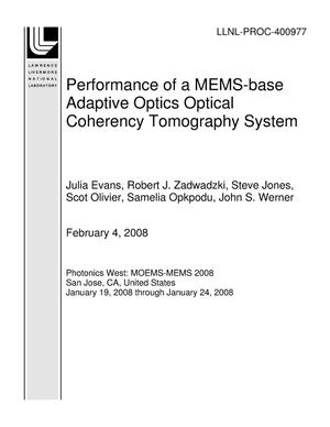 Primary view of object titled 'Performance of a MEMS-base Adaptive Optics Optical Coherency Tomography System'.