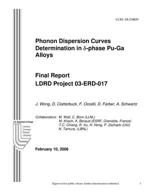 Primary view of object titled 'Phonon dispersion curves determination in (delta)-phase Pu-Ga alloys'.