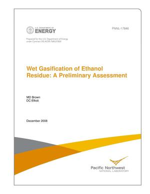 Primary view of object titled 'Wet Gasification of Ethanol Residue: A Preliminary Assessment'.