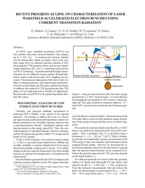 Primary view of object titled 'Recent Progress at LBNL on Characterization of Laser WakefieldAccelerated Electron Bunches using Coherent Transition Radiation'.