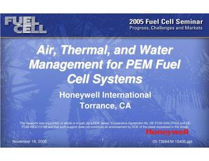Primary view of object titled 'Air, Thermal, and Water Management for PEM Fuel Cell Systems'.