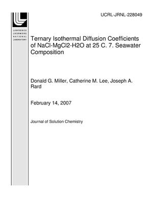 Primary view of object titled 'Ternary Isothermal Diffusion Coefficients of NaCl-MgCl2-H2O at 25 C. 7. Seawater Composition'.