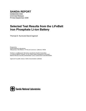 Primary view of object titled 'Selected test results from the LiFeBatt iron phosphate Li-ion battery.'.