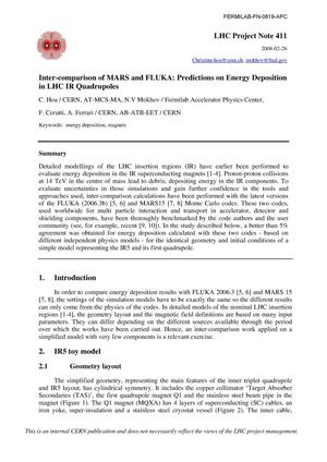 Primary view of object titled 'Inter-comparison of MARS and FLUKA: Predictions on energy deposition in LHC IR quadrupoles'.