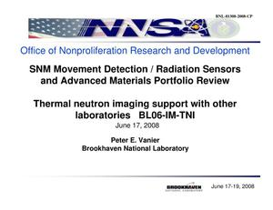 Primary view of object titled 'Thermal neutron imaging support with other laboratories BL06-IM-TNI'.