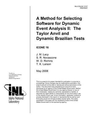 Primary view of object titled 'A Method for Selecting Software for Dynamic Event Analysis II: the Taylor Anvil and Dynamic Brazilian Tests'.