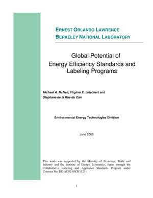 Primary view of object titled 'Global Potential of Energy Efficiency Standards and Labeling Programs'.