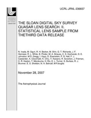 Primary view of object titled 'THE SLOAN DIGITAL SKY SURVEY QUASAR LENS SEARCH. II. STATISTICAL LENS SAMPLE FROM THETHIRD DATA RELEASE'.