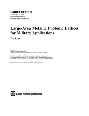 Primary view of object titled 'Large-area metallic photonic lattices for military applications.'.