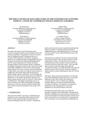 Primary view of object titled 'The Impact of Retail Rate Structures on the Economics ofCustomer-Sited PV: A Study of Commercial Installations inCalifornia'.