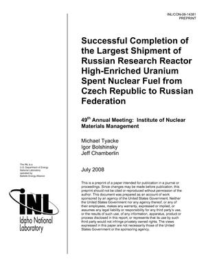 Primary view of object titled 'Successful Completion of the Largest Shipment of Russian Research Reactor High-Enriched Uranium Spent Nuclear Fuel from Czech Republic to Russian Federation'.