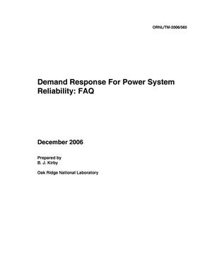 Primary view of object titled 'Demand Response For Power System Reliability: FAQ'.