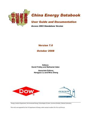 Primary view of object titled 'China Energy Databook -- User Guide and Documentation, Version 7.0'.