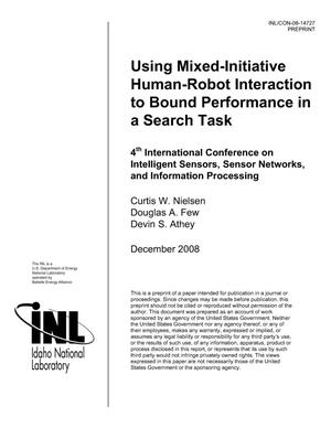 Primary view of object titled 'Using mixed-initiative human-robot interaction to bound performance in a search task'.