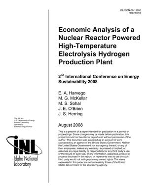 Primary view of object titled 'Economic Analysis of a Nuclear Reactor Powered High-Temperature Electrolysis Hydrogen Production Plant'.