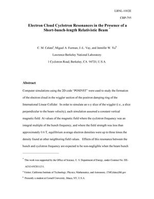 Primary view of object titled 'Electron Cloud Cyclotron Resonances in the Presence of a Short-bunch-length Relativistic Beam'.