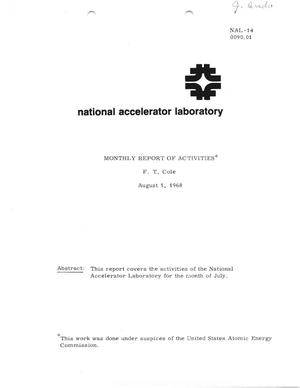 Primary view of object titled 'Monthly report of activities: August 1, 1968'.