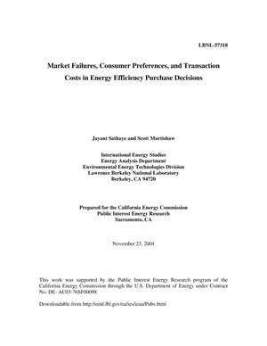 Primary view of object titled 'Market failures, consumer preferences, and transaction costs inenergy efficiency purchase decisions'.