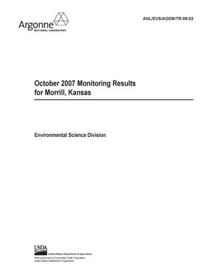 Primary view of object titled 'October 2007 monitoring results for Morrill, Kansas.'.