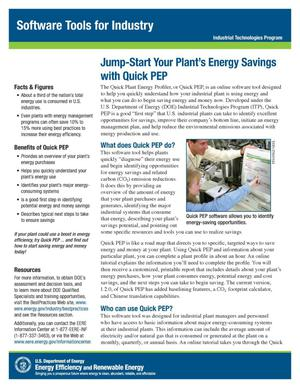 Primary view of object titled 'Jump-Start Your Plant's Energy Savings with Quick PEP, Software Tools for Industry, Industrial Technologies Program (ITP) (Fact Sheet)'.
