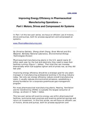 Primary view of object titled 'Improving Energy Efficiency in Pharmaceutical ManufacturingOperations -- Part I: Motors, Drives and Compressed Air Systems'.