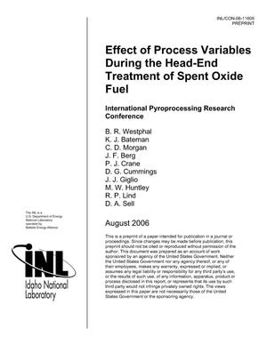 Primary view of object titled 'Effect of Process Variables During the Head-End Treatment of Spent Oxide Fuel'.