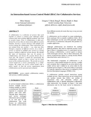 Primary view of object titled 'An interaction-based access control model (IBAC) for collaborative services'.