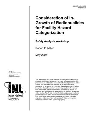 Primary view of object titled 'Consideration of In-Growth of Radionuclides for Facility Hazard Categorization'.
