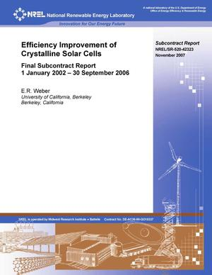 Primary view of object titled 'Efficiency Improvement of Crystalline Solar Cells: Final Subcontract Report, 1 January 2002 - 30 September 2006'.