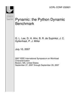 Primary view of object titled 'Pynamic: the Python Dynamic Benchmark'.