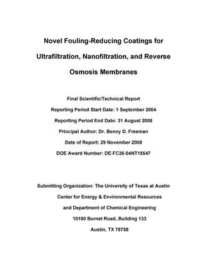 Primary view of object titled 'Novel Fouling-Reducing Coatings for Ultrafiltration, Nanofiltration, and Reverse Osmosis Membranes'.