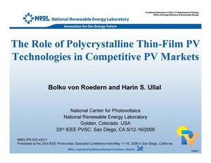 Primary view of object titled 'Role of Polycrystalline Thin-Film PV Technologies in Competitive PV Markets (Presentation)'.