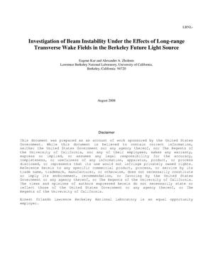 Primary view of object titled 'Investigation of Beam Instability Under the Effects of Long-Range Transverse Wake Fields in the Berkeley Future Light Source'.