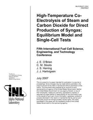Primary view of object titled 'High-Temperature Co-electrolysis of Steam and Carbon Dioxide for Direct Production of Syngas; Equilibrium Model and Single-Cell Tests'.