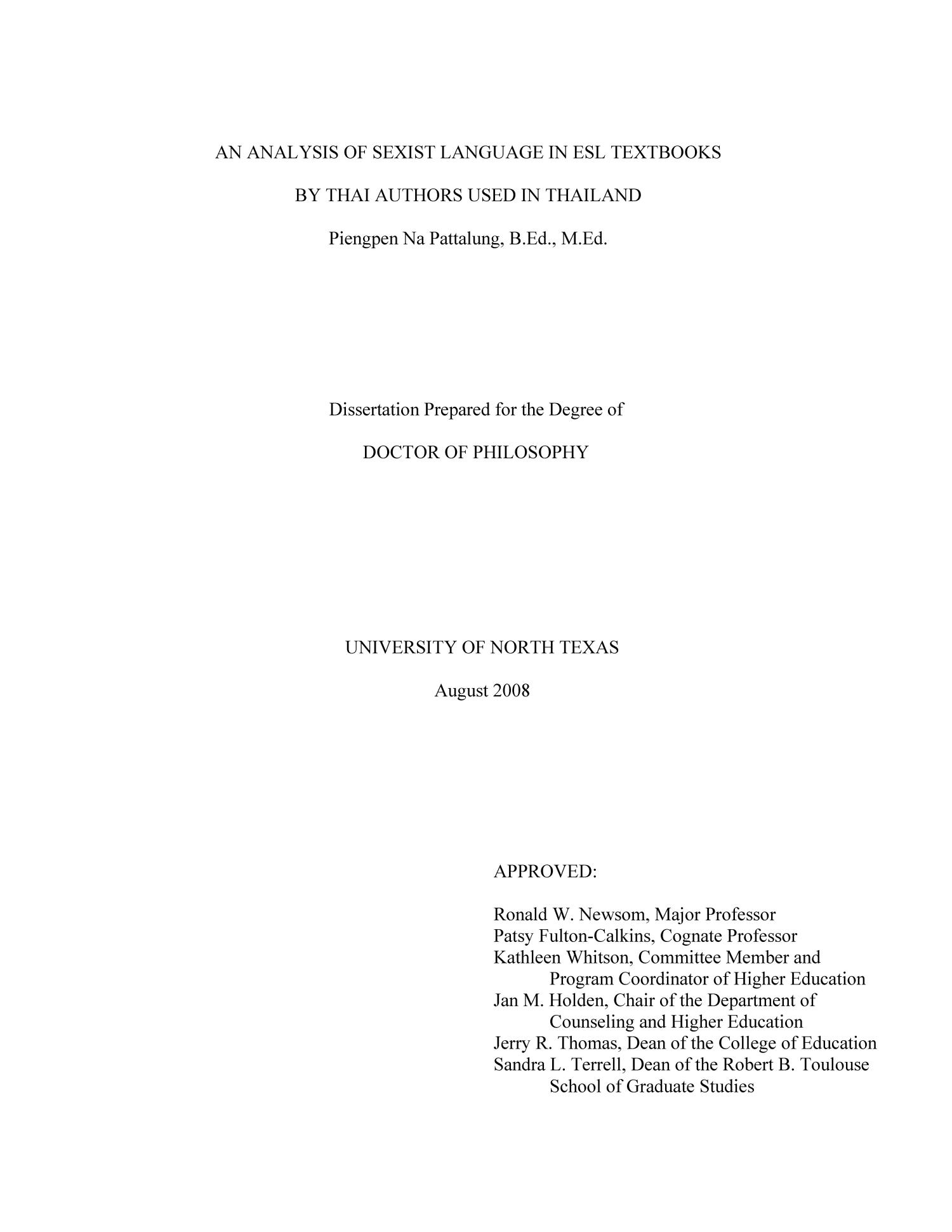 thailand dissertation The impact of medical tourism on the domestic economy and private health system: a case study of thailand thinakorn noree thesis submitted in accordance with the requirements for the degree of degree of doctor of philosophy of the university of london june 2015.