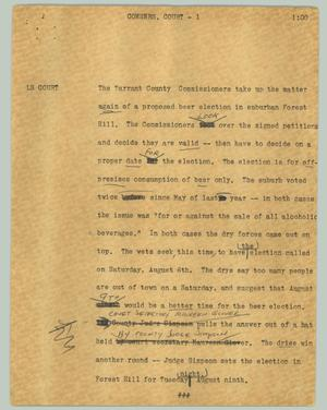Primary view of object titled '[News Script: Comsners. court]'.